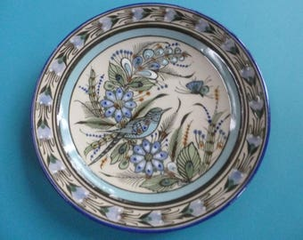 8 inch Ken Edwards Plate Mexican Ceramic Dinnerware Bird and Butterfly Design