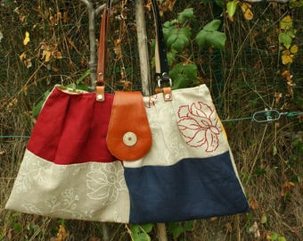 Tote - patchwork upholstery linen