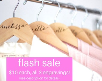 SALE! Personalized Bridesmaid Hanger - Wooden Engraved Hanger - Bridal Dress Hanger Calligraphy names dates and titles!!