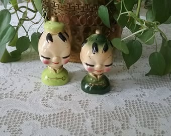Vintage 1960's Made in Japan Asian Man and Woman Ceramic Salt & Pepper Shakers