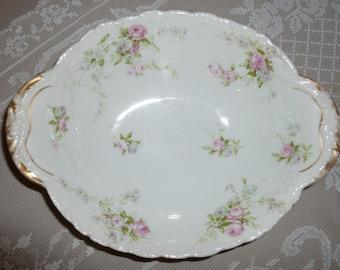 """Sweet Vintage """" Theodore Haviland """" Limoges France Serving Bowl With Pink Rose Design 1920s-1940's"""