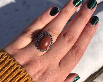 1980's Goldstone Sterling Silver Cabochon Statement Ring