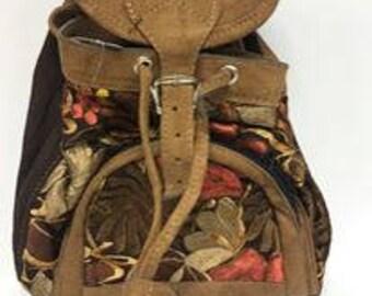 Mini Knapsack Backpack GBP26/backpack/knapsack/handmade backpack/leather backpack/BOHO/textile/floral backpack/mini backpack
