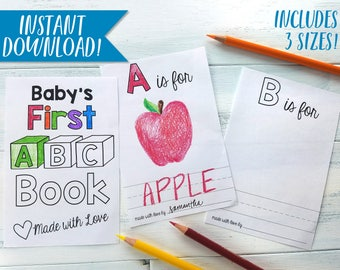 ABC Book Template DIY Alphabet Color Baby Shower Activity Printable Coloring Pdf Personalized