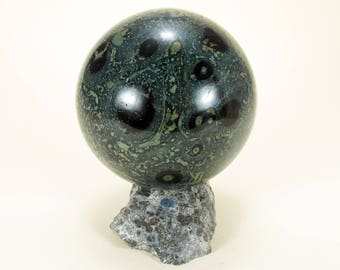 STROMATOLITE CROCODILE KAMBABA Jasper sphere 65 mm with stand polished ball, heart chakra stone #18-178