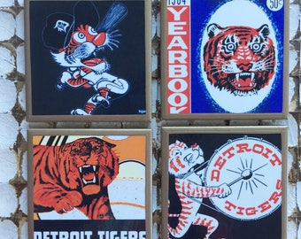 COASTERS!! Retro Detroit Tigers coasters with gold trim