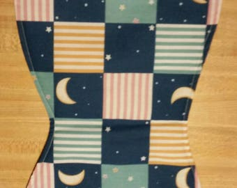 Moon and stars  Baby burp cloth handmade