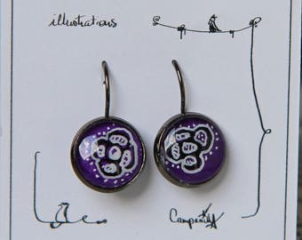Hand painted * original illustration hand painted earrings * lever Earrings * purple flowers
