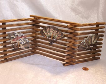 Beautiful Tri fold Teak wood divider with three Miniature Japanese Fans