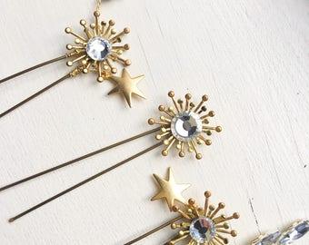 Bridal Hair Pins. Golden Hair Pins. Crystal Hair Clips. Starburst Hair Pins. Sun stars wedding Pins. Sparkly Hair Clips.