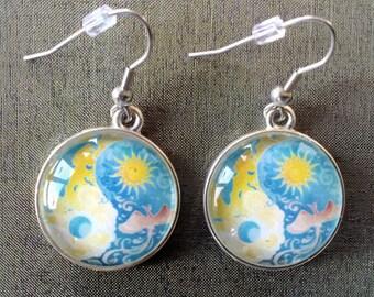 Mandala earrings, Ying yang earrings, Day and night earrings, Cabochon earrings,  Handmade earrings, Mandala jewelry, Handmade jewelry