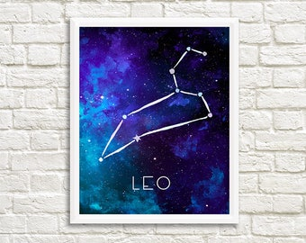 Leo Constellation, Art Print, Watercolor, Blue, Aqua, Aquamarine, Night Sky, Space, Stars, Horoscope, Digital File, Instant Download