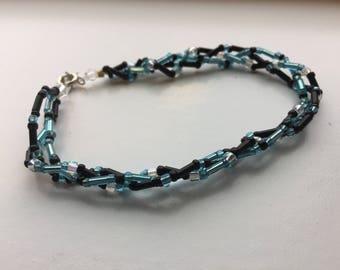 Braided Blue and Black Bracelet