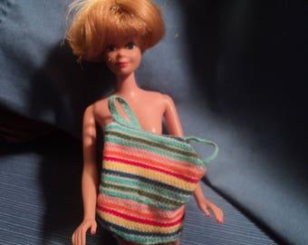 Vintage Mattel Blonde Barbie Midge American Girl AG Doll with Original Striped Swimsuit OSS