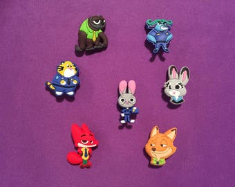 7-pc Zootopia Shoe Charms for Crocs, Silicone Bracelet Charms, Party Favors, Jibbitz