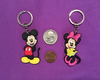 Mickey Mouse and Minnie Mouse PVC Keychains, Party Favors