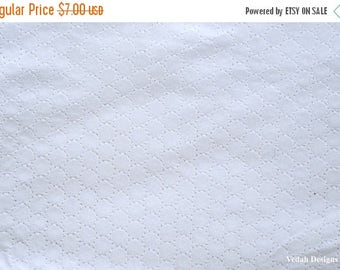 ON SALE On sale white eyelet fabric Indian textiles Cotton fabric embroidered fabric by the yard