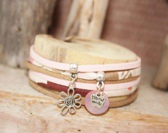 "Bracelet lucky charm ""Treats"" pink & copper"