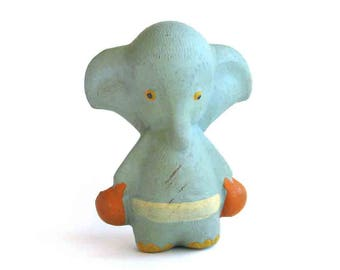 Elephant, Rare rubber vintage toy, Old Russian Toy, Soviet doll, Figurine, Animal, Nursery Decor, Made in USSR, 1960s