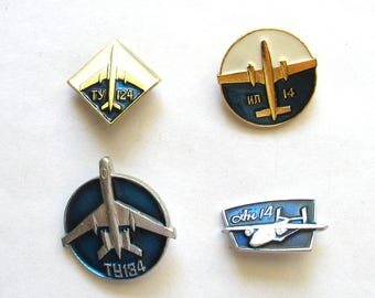 SALE, Soviet aircrafts, Set of 4 Badges, Plane, Aviation, Vintage collectible badge, Soviet Vintage Pin, USSR, 1980s