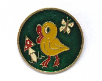 Duckling, Vintage metal collectible badge, Fly amanita, Butterfly, Brooch, Soviet Vintage Pin, Vintage Badge, Made in USSR, 1980s