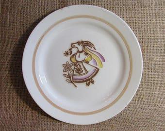 Porcelain plate, Goat in Ukrainian national costume, Kitchen utensil, Animal decor, Dish, Home Decor, Souvenir, Made in USSR, 1970s