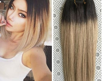 Hair extensions etsy full head dip dye clip in human hair extensions ombre 6 pcs dark brown to ash pmusecretfo Choice Image