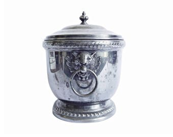 Poole Silver Co. Ice Bucket with Glass Liner, Double Lion Head Ball & Ring Handles, Gadrooned Edge, Silverplate, Thermal Insulated, C. 1940s