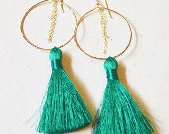 Silk Tassel Earrings, Tassel Hoop Earrings, Gold Chain Hoop Earrings, Dangling Tassel Earrings, Green Tassel Earrings