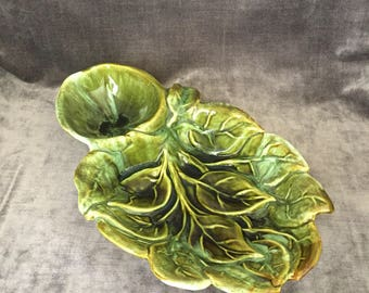 Vintage green Wade of California 113 tray platter dip snack set
