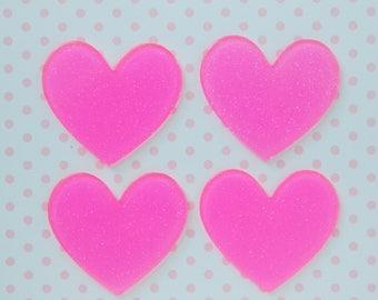 43mm Kawaii Sparkly Hot Pink Heart Flatback Resin Decoden Cabochon - set of 5