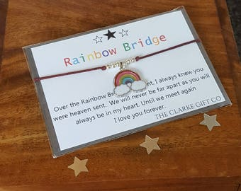 Rainbow bridge bracelet, Friendship bracelet, Loss of Pet, Memorial gift, Rainbow Charm, Rainbow Bridge