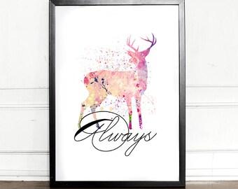 Harry Potter Print, Always, Harry Potter Always, Deer Watercolor, giclee art print, wall decor, J.K Rowling
