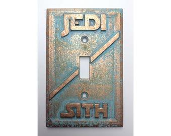 Jedi/Sith (StarWars)  - Light Switch Cover - Aged Copper/Patina