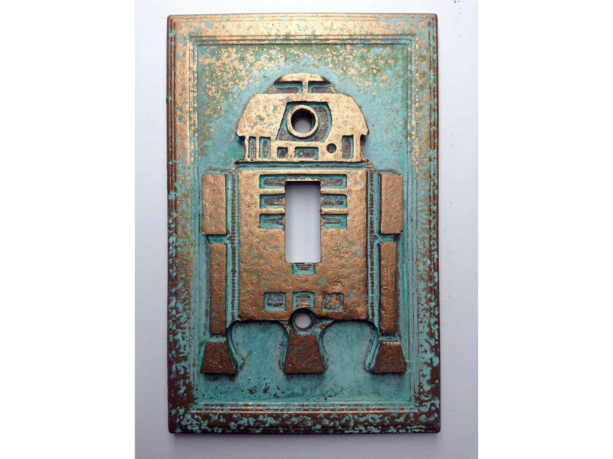 R2d2 Star Wars Light Switch Cover Aged Copper Patina Or