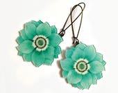 Wild flower big Hoop earrings, Trendy, Floral, Decoratio, Pastel Mint Blue Earrings, Romantic, Spring, Chrysanthemum flower, Magnolia