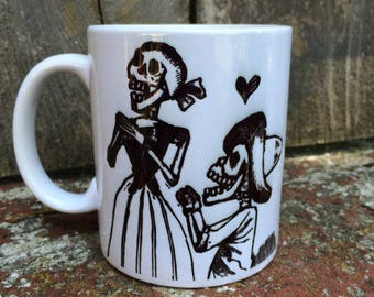 Ceramic Mug Skeleton Couple