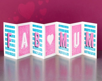 Fab Mum Concertina Card; Mothers Day Card; Birthday Card For Mum; Fab Mum Banner Card; Keepsake Card For Mums; Mum Card; Mother Card; CC075