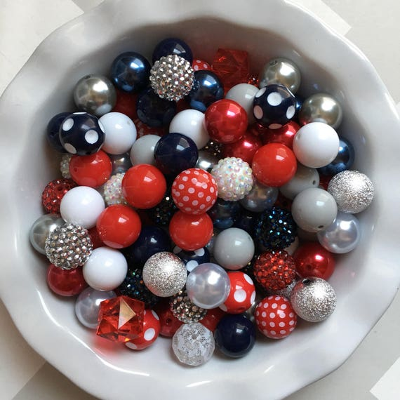 """100 {20mm} """"Patriots/Giants: Navy, White, Red, & Gray""""  Chunky Bubble Gum Bead Themed Bead Lot **Read Item description before purchase!"""