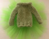 BLYTHE DOLL OUTFIT Apple Green Angora Hand Knitted Sweater Jumper  with Green Tutu Skirt Blythe Dolls Pullip Azone