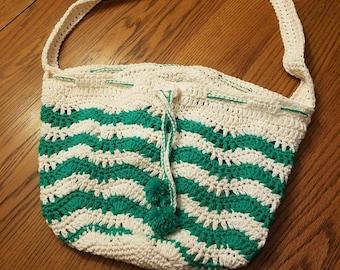 Crochet Cotton Wavy-Mesh Summer Beach Bag