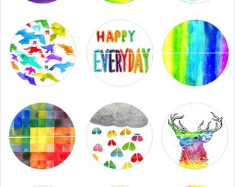 NN-color Rainbow 12 Images/designs digital 30/25/20/18/16/15/14/12/10/8 mm cabochon round