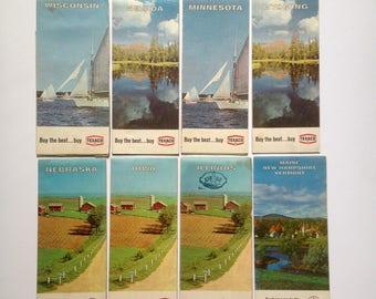 8 vintage TEXACO Road Maps, 1960s Gasoline Advertising, United States of America Travel Planning