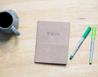 THINGS, hand stamped minimal notebook, cardboard blank journal
