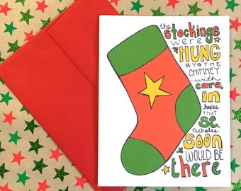 The Stockings Were Hung Hand Illustrated Christmas Card