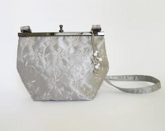 Ladies vintage hand bag / Ladies evening hand bag / Silver elegant bag / Satin evening bag / Elegant ladies shoulder bag / Metal frame bag