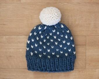 Blue + White Fair Isle Knit Winter Hat