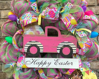 Pink Truck Easter Egg Wreath Easter Wreath Spring Wreath