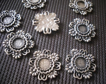 set of 5 silver tone cabochon holders