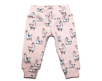 Llama Leggings - Girls Pink Llama Leggings - Girls Leggings - Llama Pants - Baby Clothes - Baby Leggings - Girls Clothes - Girls Pants